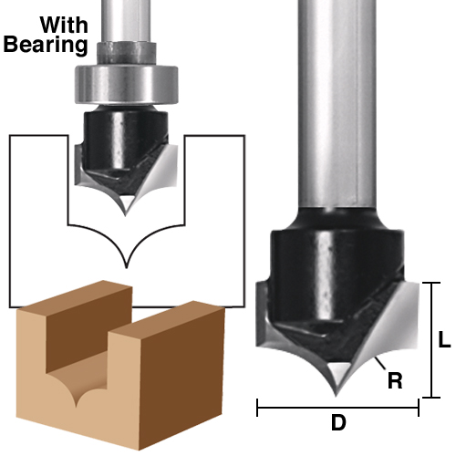 Point Cutting Plunge Roundover Bits